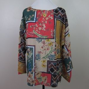 Suzanne Betro Tunic Blouse M Boho Floral NEW
